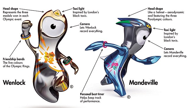 The 2012 London Olympics and Paralympics mascots:Wenlock and Mandeville